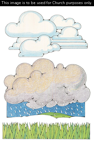 Primary cutouts of white clouds, rain falling from gray clouds, and grass in different shades of green.
