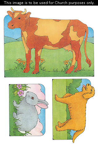 Primary cutouts of an orange cow with cream-colored spots, an orange dog with an open mouth, and a gray rabbit with pink ears.