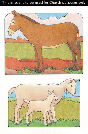 Two Primary cutouts of a brown donkey standing and a white mother goat standing beside her baby.