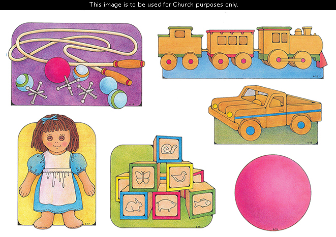 Primary cutouts of a jump rope with marbles, a ball, and jacks; a wooden train; a wooden truck; a rag doll; wooden blocks; and a pink ball.