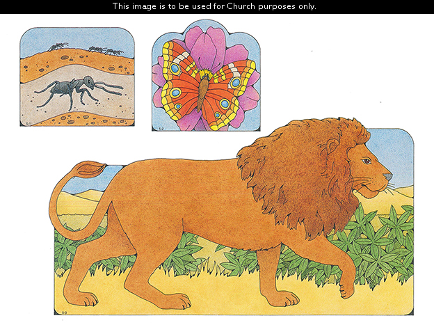 Primary cutouts of black ants in the dirt, an orange butterfly on a purple flower, and a lion walking.