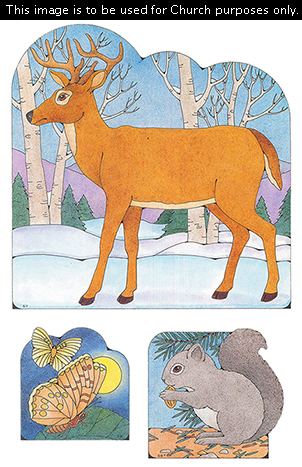 Primary cutouts of a deer standing on snow near trees, two moths in the night sky, and a squirrel eating an acorn on the ground.