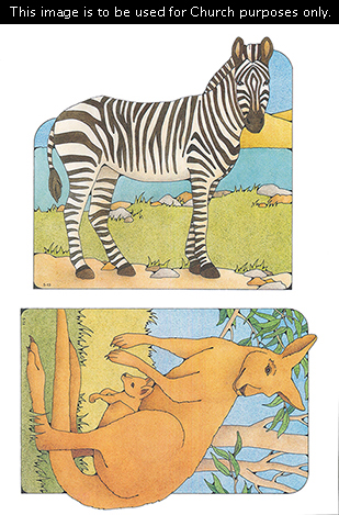 Primary cutouts of a zebra standing by water and a mother kangaroo standing on grass with her baby (joey).