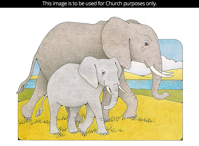 A Primary cutout of a mother elephant walking with her baby on yellow grass by a river.