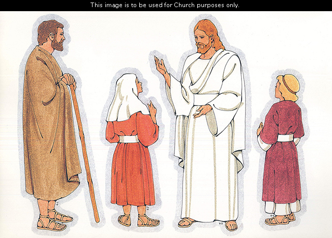 Primary cutouts of a biblical man holding a staff, a biblical girl in a red dress, Jesus Christ in white robes, and a biblical girl in a purple dress.