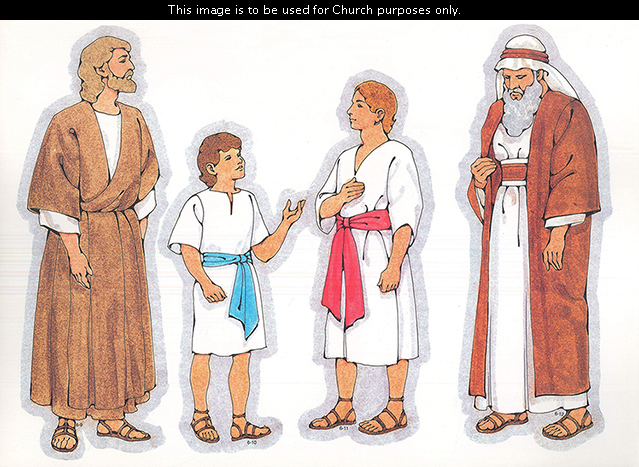 Primary cutouts of a biblical man in a brown robe, a biblical boy with brown hair, a biblical young man in white, and a biblical aged man in orange.