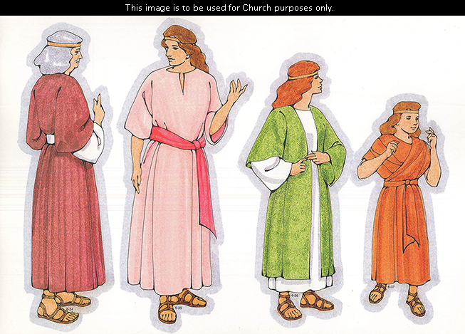 Primary cutouts of a Nephite woman with gray hair, a middle-aged Nephite woman, a Nephite young woman in a green robe, and a Nephite girl in orange.