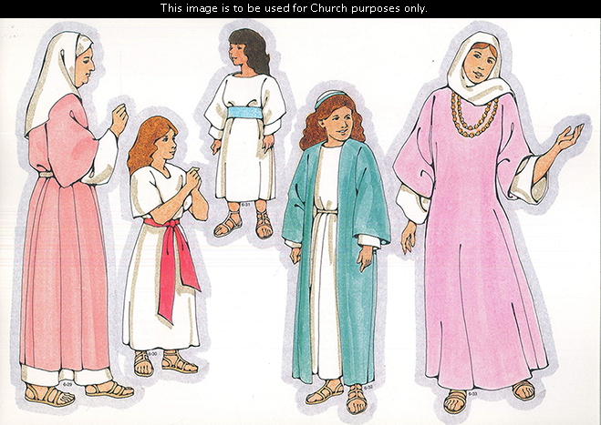 Primary cutouts of a Nephite young woman in blue, a Nephite woman in purple, a Nephite aged woman in pink, a Nephite girl in white, and a Lamanite girl.