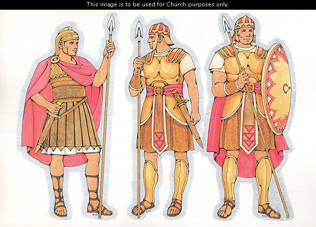 Three Primary cutouts of a Roman soldier, Nephite warrior, and Captain Moroni, each standing in armor and red robes and holding spears.