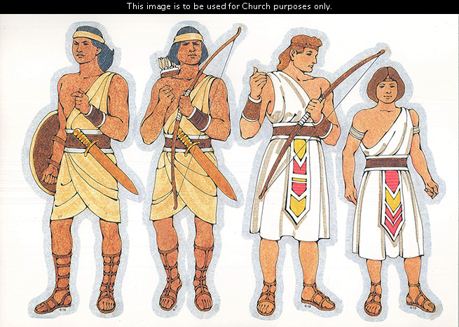 Primary cutouts of a Lamanite warrior holding a shield, a Lamanite warrior holding a bow and arrows, a Nephite holding a bow, and a young Nephite man.
