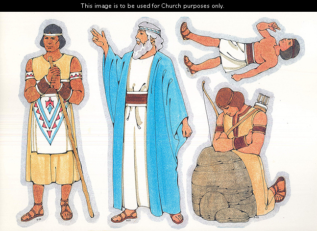 Primary cutouts of a Lamanite man holding a staff, a Book of Mormon prophet standing, a Lamanite boy walking, and the prophet Enos praying by a rock.