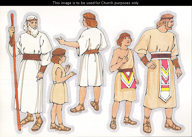 Primary cutouts of a Nephite man holding a staff, a Nephite child, a Nephite young man, a Nephite boy, and a Nephite middle-aged man.