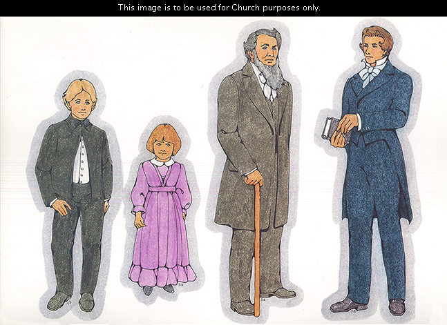 Primary cutouts of a young pioneer boy in a suit, a young pioneer girl in a purple dress, Brigham Young with a cane, and Joseph Smith with scriptures.