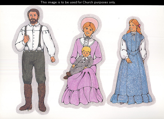 Primary cutouts of a pioneer man standing, a pioneer woman sitting with a small boy on her lap, and a young pioneer woman in a blue dress.