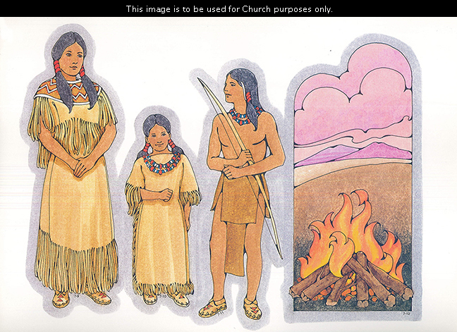 Primary cutouts of a young Indian woman, a young Indian girl, a young Indian man holding a bow, and a campfire with mountains and clouds in the distance.