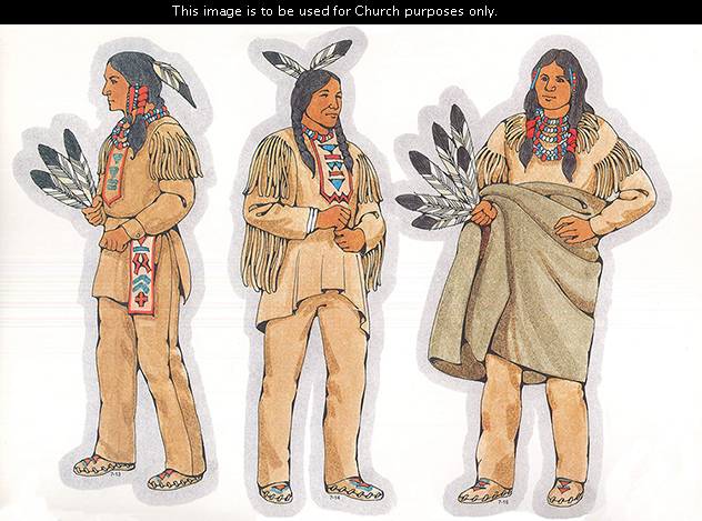 Three Primary cutouts of an Indian man holding three feathers, an Indian man standing with two feathers in his hair, and an Indian man holding a blanket.