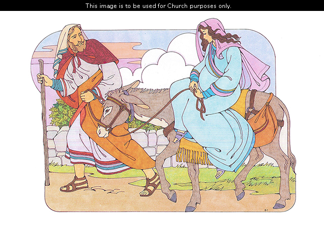A Primary cutout of Joseph holding a staff and walking beside a gray donkey with Mary, his pregnant wife, riding on it.