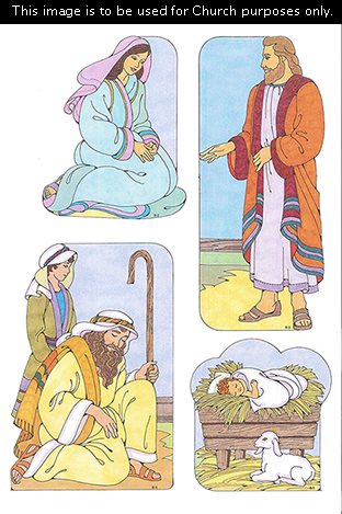 Primary cutouts of Mary kneeling, Joseph standing in an orange robe, two shepherds standing and kneeling with a staff, and baby Jesus in a manger.