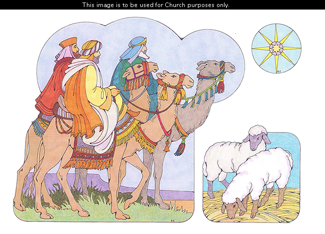 Primary cutouts of three Wise Men riding on camels, the star of Bethlehem, and two sheep standing on straw.