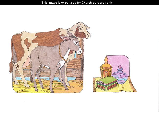 Two Primary cutouts of a cow standing with a donkey by a fence, and the gift from the Magi (the Wise Men).