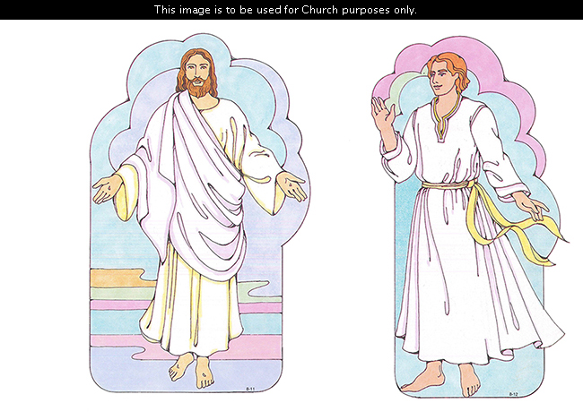 Two Primary cutouts of the resurrected Christ standing with outstretched arms and an angel standing in a white robe with a yellow sash.