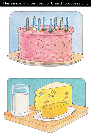 Two Primary cutouts of a pink birthday cake with eight blue candles and a wooden tray with a glass of milk, a slice of cheese, and butter on a plate.