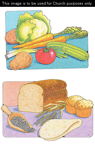 Two Primary cutouts of a variety of vegetables against a blue background and a variety of bread or grains with a light purple background.