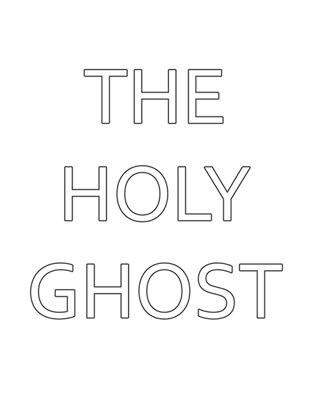"A black-and-white illustration of the words ""The Holy Ghost."""