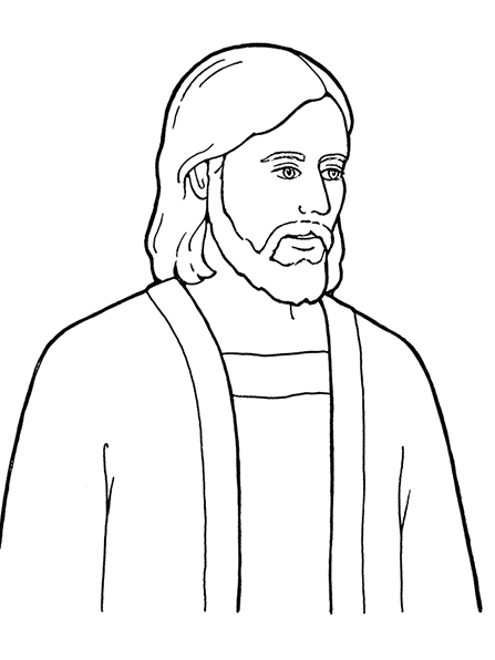 A black and white illustration of Jesus Christ, the Son of God.
