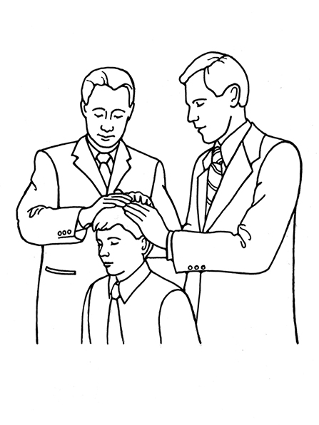 A black-and-white illustration of a young man receiving the Melchizedek Priesthood though the laying on of hands.