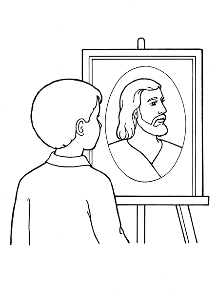 A black-and-white illustration of a young boy looking at a picture of of Christ, who is looking off to the side.