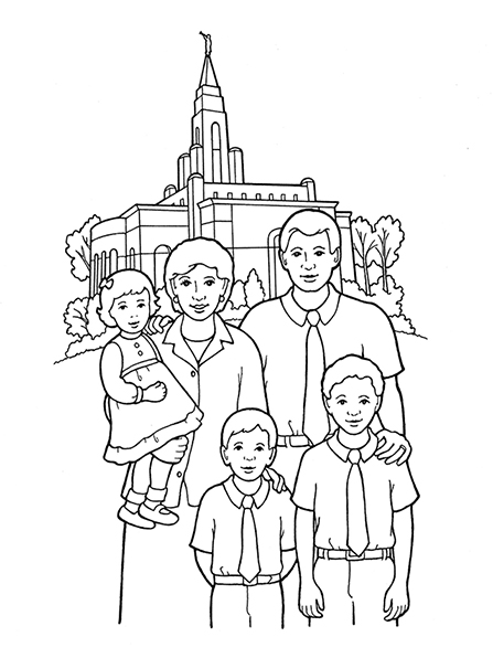 A black-and-white illustration of a husband and wife with two young boys and a baby girl, standing in front of a temple.