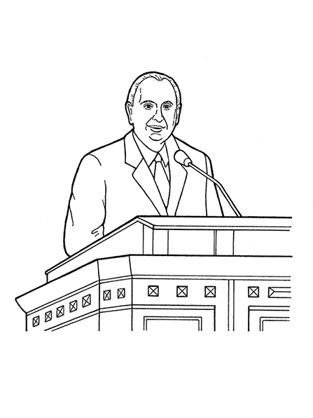 A black-and-white illustration of latter-day prophet Thomas S. Monson speaking at general conference.