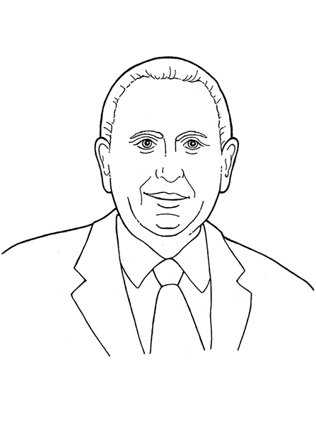 A black-and-white illustration of our latter-day prophet, Thomas S. Monson.