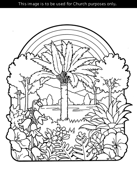 A black-and-white illustration of the Creation, including plants, a tree, and a rainbow.