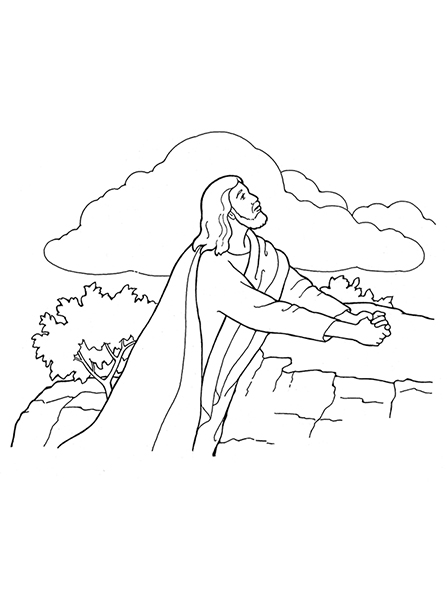 A black-and-white illustration of Jesus Christ kneeling near a rock and praying in the Garden of Gethsemane.