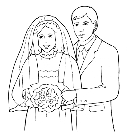 A black-and-white illustration of a bride with a veil and a bouquet standing next to her groom, who is wearing a suit.