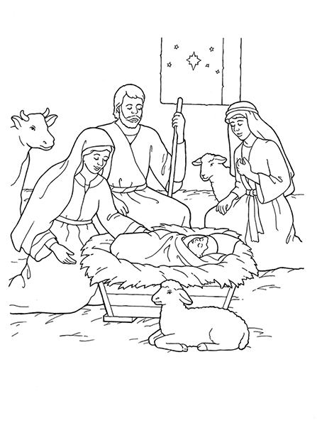 Nativity mary joseph jesus and the shepherds for Nativity animals coloring pages