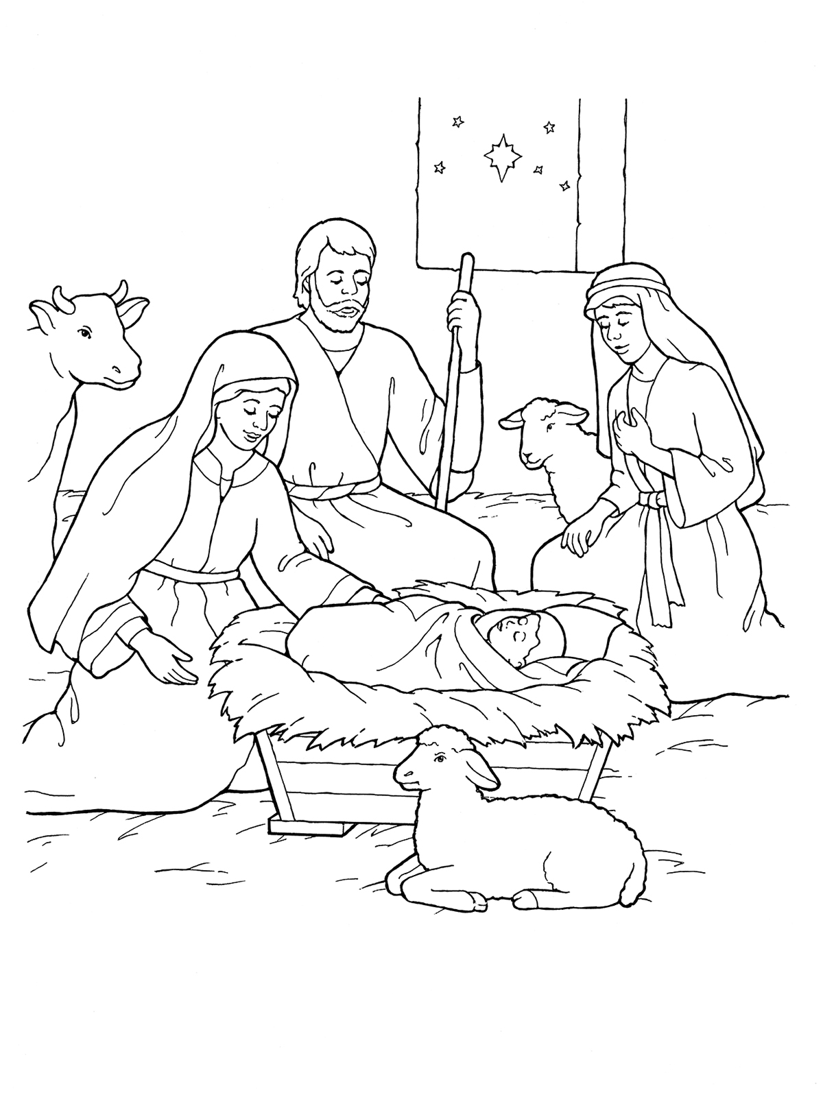 Nativity mary joseph jesus and the shepherds for Coloring pages baby jesus in manger