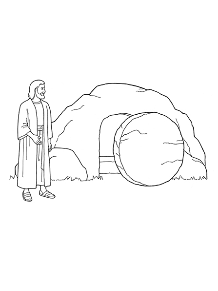 A black-and-white illustration of Jesus Christ standing outside of the empty tomb with the stone rolled away.