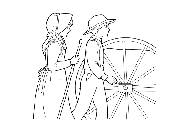 A black-and-white illustration of a young pioneer boy and young pioneer girl walking near the wheel of a handcart.