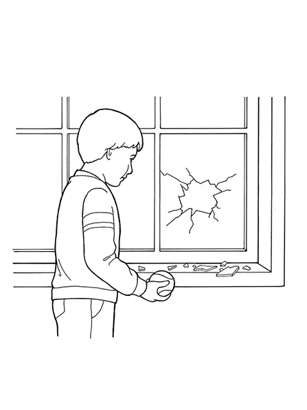 A black-and-white illustration of a young boy holding a baseball, which has just gone through a window and made a large hole.