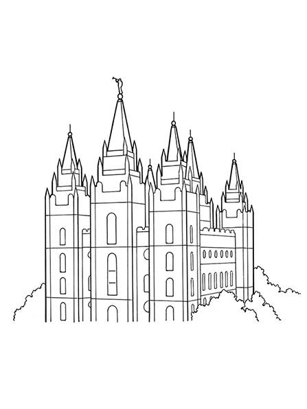 A black-and-white illustration of the top half of the Salt Lake Temple surrounded by trees.