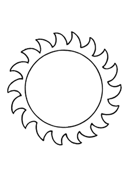A black-and-white illustration of the sun.