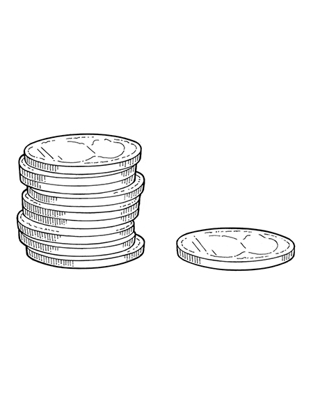 A black-and-white illustration of nine coins in a stack with a single coin next to them on the right.