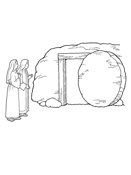 A black-and-white illustration of two women standing outside of the empty tomb with the stone rolled away from the entrance.
