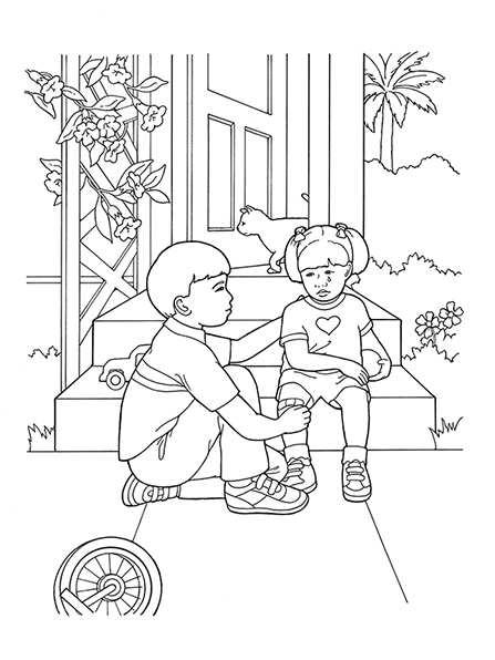 A black-and-white illustration of a boy comforting a girl who is sitting on the steps of their home with a bandage on her knee.
