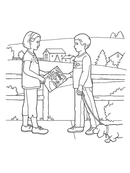 A black-and-white illustration of a boy walking a dog next to fence and offering a copy of the Friend to a young girl.