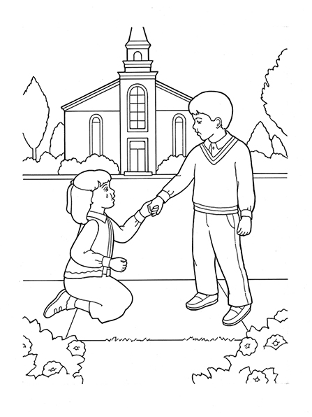 A black-and-white illustration of a boy helping a girl to stand up after she has fallen on the sidewalk in front of a meetinghouse.