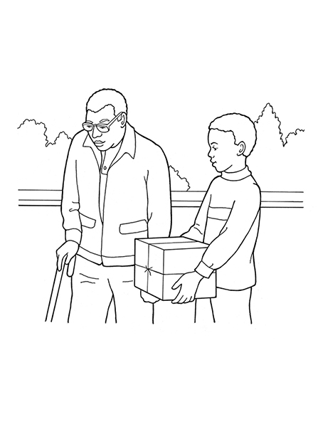A black-and-white illustration of a young boy carrying a box for his grandfather, who is using a cane to walk.